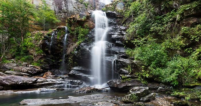 High Falls, on the Little River in Transylvania County, is a 125 ft waterfall located in the DuPont State Forest, in the Blue Ridge Mountains of North Carolina.