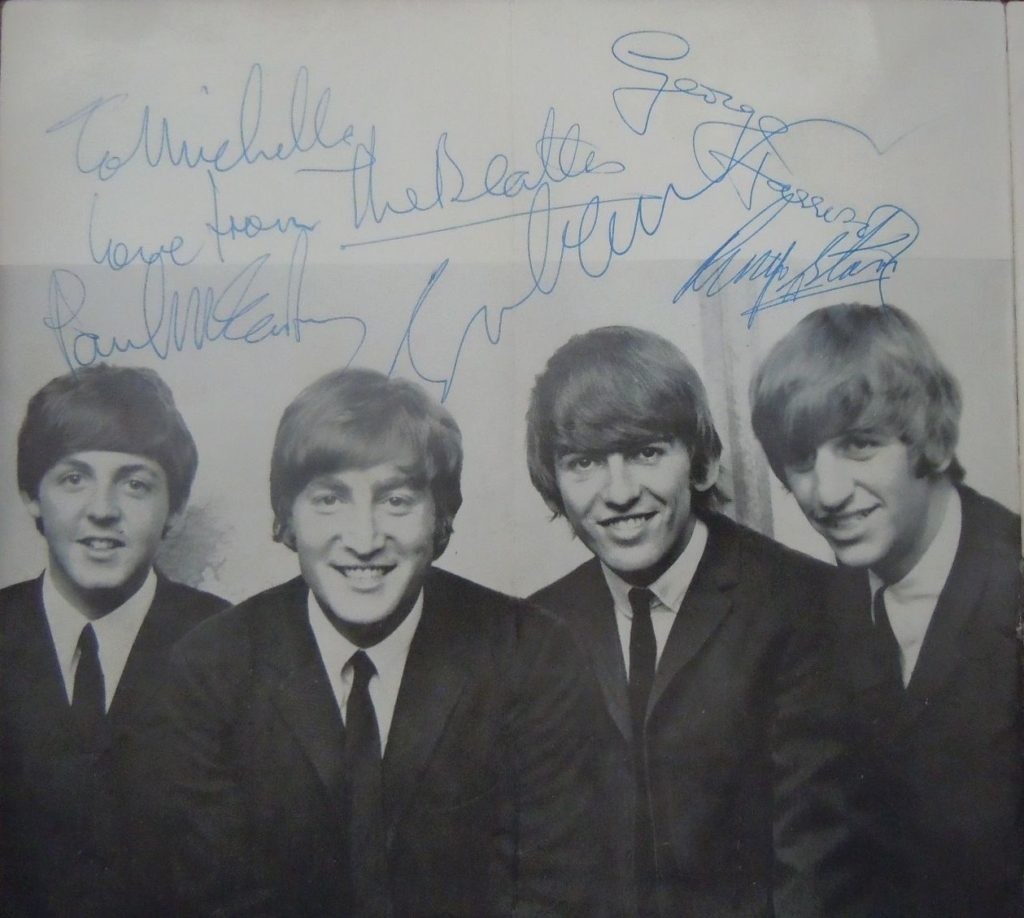 "The Beatles ""Four Aces"" program large set of autographs boldly signed on the opening photo page of the group by John Lennon, George Harrison, Ringo Starr and Paul McCartney who has added a dedication ""To Michelle Love from The Beatles""."
