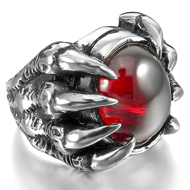 Bishilin Mens Stainless Steel Silver Dragon Claw Rings with Red Agate