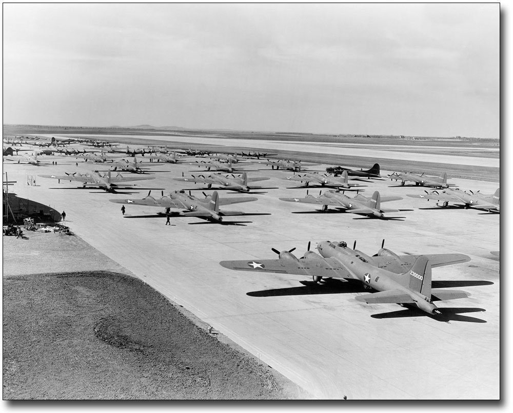 Boeing B-17 Flying Fortresses lined-up at Salina Air Base in Salina, Kansas during WWII.