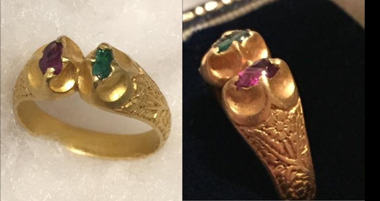 Medieval gold ring, engraved with flowers and set with ruby and emerald gemstones