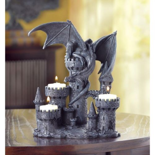 Medieval Winged Dragon Statue on Castle Tower Tealight Candle Holder