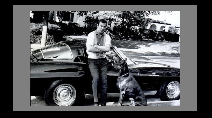William Shatner and friend with a 1963 Corvette Sting Ray Sport Coupe