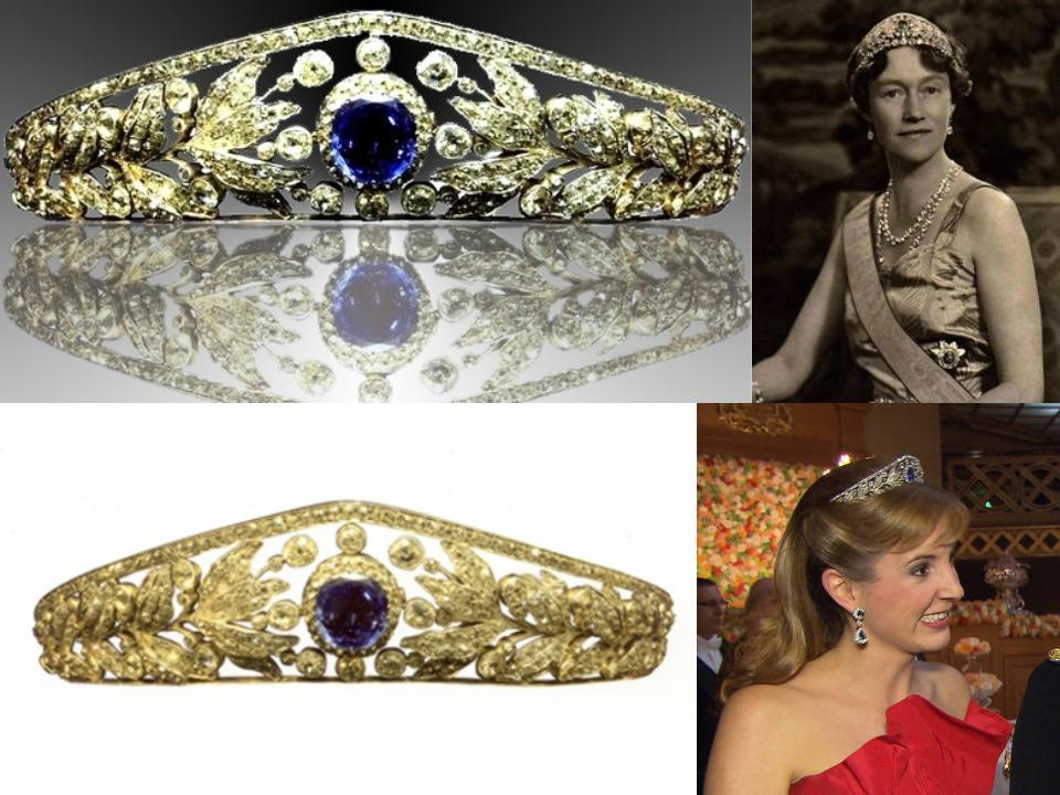 The Nassau Tiara Though this tiara is by no means simple, it is still the most simplistic tiara on this list in terms of the amount of stones used, as well as the intricacy of the design. The Nassau Tiara, which was most likely created sometime between 1865 and 1870, showcases a large cushion-shaped blue sapphire that can be removed and worn separately. A floral motif displaying leaves and berries, comprised of rose-cut diamonds, brilliant diamonds, yellow gold, and white gold, and surrounds the sapphire on both sides. This regal piece once belonged to the wife of the Grand Duke of Luxembourg, Princess Adelheid-Marie of Anhalt-Dessau, who was the Duchess of Luxembourg between 1890 and 1905.