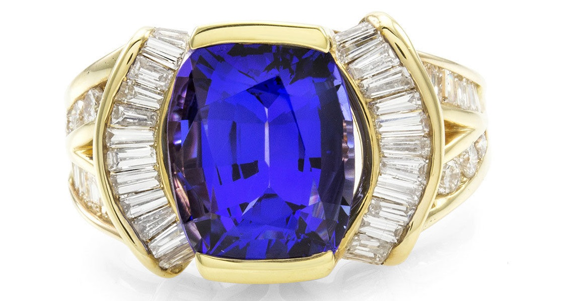 Fancy Cushion Tanzanite Ring w/ Diamonds in 18K Yellow Gold