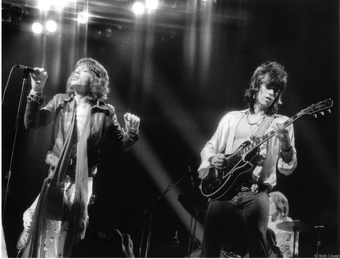 Mick Jagger and Keith Richards on stage. 1972