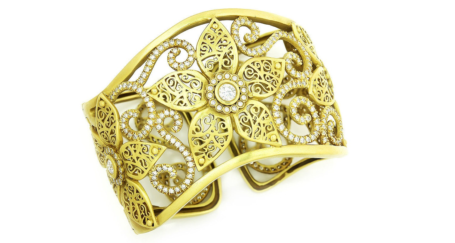 Kieselstein-Cord Diamond Flower Cuff Bracelet 18K Yellow Gold 5.85ctw