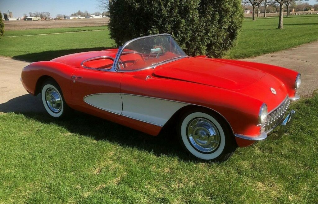 Classic Red and White 1956 Corvette Convertible
