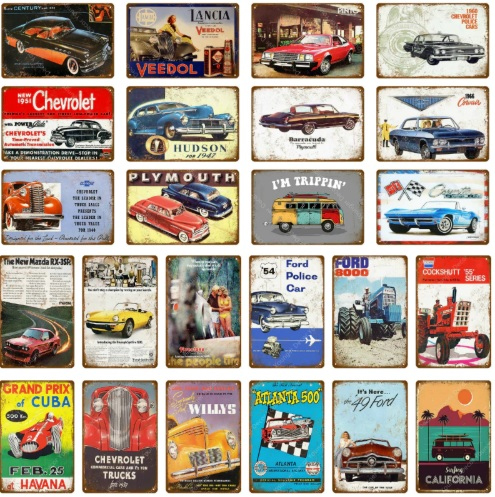 Vintage Car Touring Bus Metal Tin Signs Pub Bar Home Garage Decor American Chevrolet Corvette Vintage Wall Art Painting Poster
