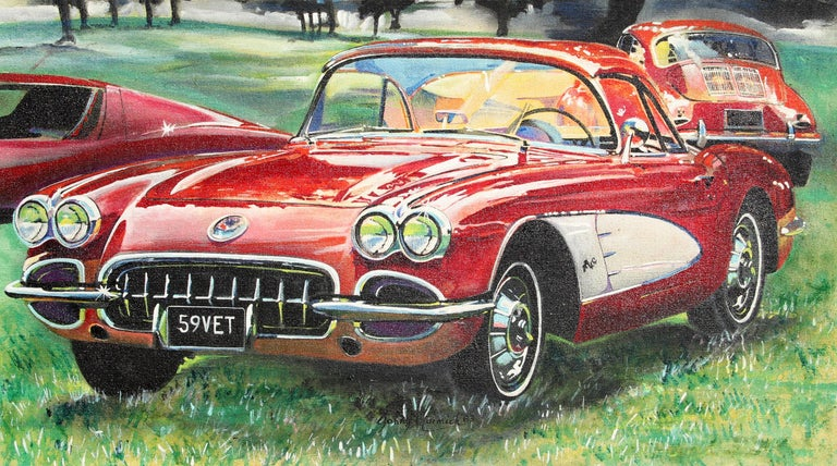 Wonderful Painting Of A 1959 Corvette
