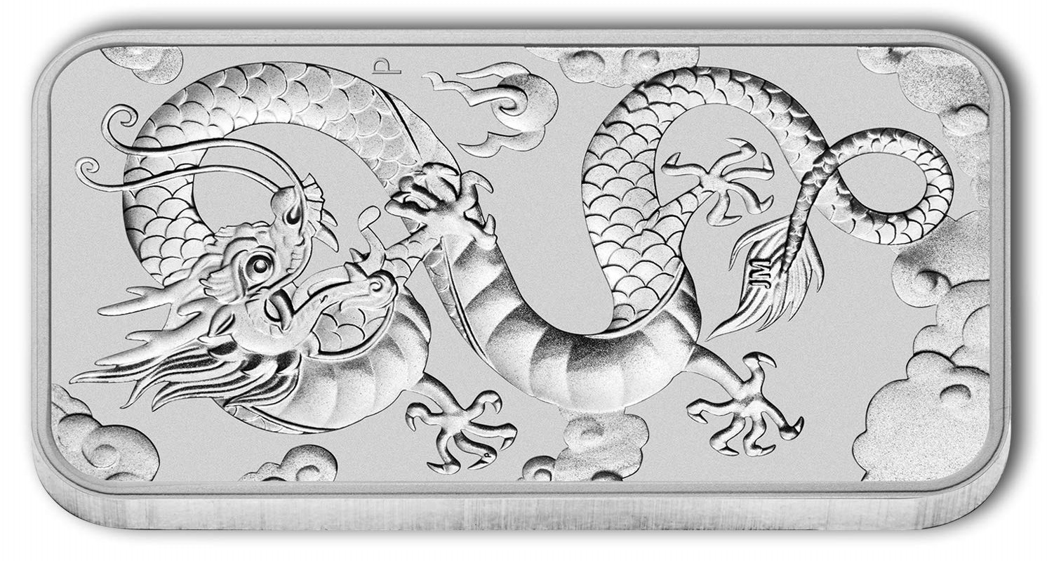 1oz Silver Bar Australia Perth Mint Dragon Series
